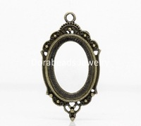 Free Shipping! Charm Pendants Oval Antique Bronze Pattern Carved Cabochon Setting(Fits 25x18mm)4.3x2.3cm,20PCs (B22552)