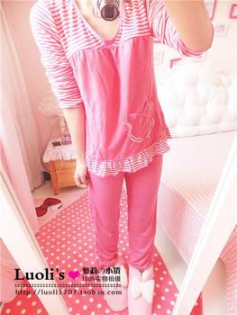 Lourie ruffle hem love pocket color block decoration stripe long-sleeve sleepwear lounge set female spring and autumn 8074