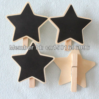 Free Shipping 100pcs/lot Mini Small Black board Clip Peg Wooden CHALKBOARD For Wedding/Party Decoration Star Shape