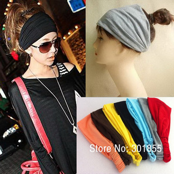 Freeshipping 4pcs/lot Women Elastic Headbands Hair Band Ladies Cotton Headbands bandana hair accessories for women 7 colors