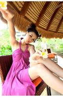 Women's plus size plus size swimwear female hot spring one-piece dress
