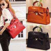 Fashion Elegant Womens Vintage Pu Leather Bowknot Bow Tote Handbag Shoulder Bag Free Shipping