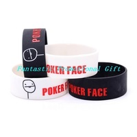 5 pcs/lot, free shipping/ MEME  series/ POKER FACE / Silicone bracelet/1 inch Silicone band/ mix order welcome