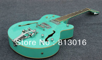 Free shipping Light Green color F-Hole hollow body bigsby  tremolo silver hardware JAZZ OEM Electric Guitar HOT
