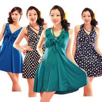 Plus size plus size swimwear hot spring female swimsuit ultra long paragraph one-piece dress 3XL - 6xl