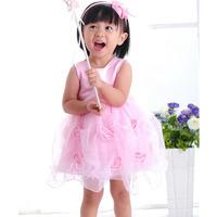 Retail 1Pcs 2015 baby girl princess dress formal dress baby girls party rose dress free shipping