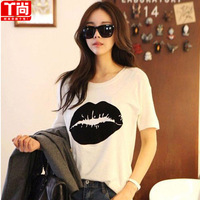 Fashion loose o-neck print casual all-match large personalized short-sleeve t-shirt female  Free shipping