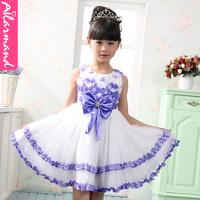 Retail 1Pcs 3 colour(purple pink roseo) 2013 children dress girls Princess dress chiffon Big bow gauze dresse  free shipping