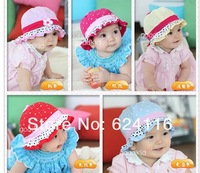 BB35 10pcs/lot Baby Girl Fashion Gift Cotton Sun Hats Summer Hat Falbala Hat Flower Nice Baby Accessory