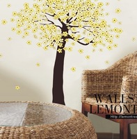 Yellow flower tree sakura Cheap Cartoon Animal PVC Wall Sticker ,Wall Decal ,Wallpaper, Room Sticker, House Sticker