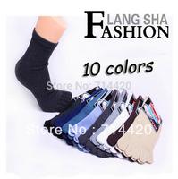 2014 New Men's 5 pairs/lot  toe socks Pure cotton short cotton socks for men
