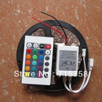 Hotsale 5M RGB led strip light 3528 non waterproof dc 12V smd 3528 300leds 60 led/m car strip+24 keys IR remote controller