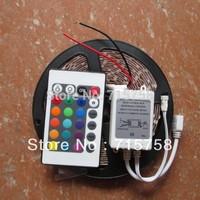 Hotsale 5M RGB led strip light 3528 non waterproof dc 12V smd 3528 300leds 60 led/m car strip+24 keys IR remote controller
