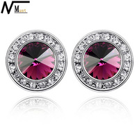 MT JEWELRY Free Shipping Christmas Jewelry Earrings Limited Edition Round Crystal Royal Stud Earrings