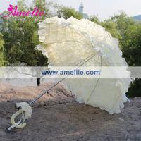 Beige Baby Shower Decorative Wedding Lace Umbrella