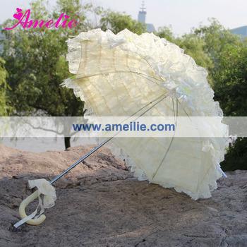 Бежевый Baby Shower Decorative Свадьба Кружево Umbrella