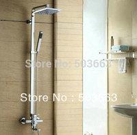 Wholesale Bathroom Luxury Chrome Rain Shower Head Arm Set Faucet With Handy Unit Tap S-639