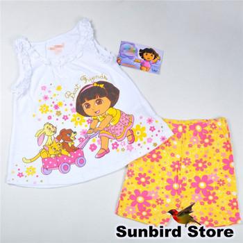 WYD19, 4sets/lot, Dora, children clothing sets for Summer, short sleve T shirt  + flower short for 2-5Y.