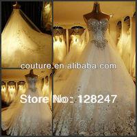 Hot Selling Kingly Latest Designs Applique Beaded Beading Shiny Crystal Diamond Long Tail Tulle Wedding Dresses 2013  XT-046