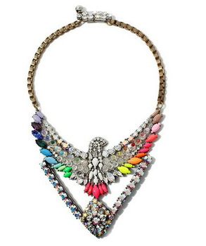 Wholesale Fashion Retro Crystal Eagle Bib Resin Stone Chunky Choker Hawk Necklace Statement Jewelry For Women Dress x4110