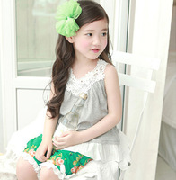 New arrival 2013 children's clothing summer top girls T-shirt  100% cotton laciness spaghetti strap top baby girl vest