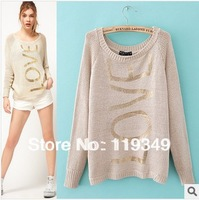 New 2013 Women's Fashion LOVE Letter Gold Blocking Pullover Crochet Sweater Casual Plus Size Tops Knitted Jumper For Ladies