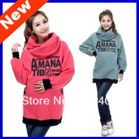 2013 New Arrival Maternity Hoodies Maternity Clothing Big turndown collar Hoodies Maternity Sweatshirt Free Shipping BB80