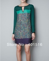 2013 New Fashion Ladies' elegant Floral Print Bohemian Green Dresses Vintage sexy Mini Evening party designer dresses cascul