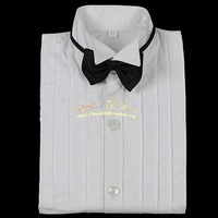 2013 new fashion pleat long sleeve pure white formal shirt for boy with a bow matching suit free shipping