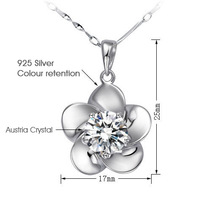 TOP Quality Vintage Crystal Flower Wedding Necklaces 925 Silver Austria Crystal Flower Bride Necklaces SK060