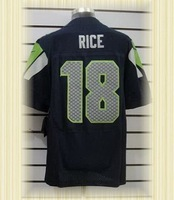 Arrived New Seattle Football jerseys embroidery logo 18 Sidney Rice SeaBlue white Elite jerseys embroidery logo