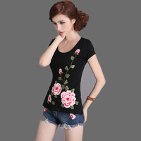 2013 women's three-dimensional embroidered slim 100% cotton short-sleeve T-shirt formal o-neck basic shirt