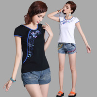 2013 summer orchid embroidered slanting lapel 100% cotton short-sleeve T-shirt formal o-neck slim basic shirt
