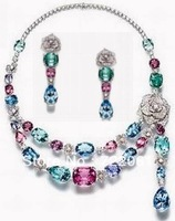 Free mail 925 sterling silver plated platinum inlaid colored gems rose necklace earrings suit high quality jewelry women