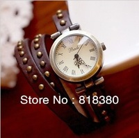 Wholesale Lovers Gifts Fashion Vintage Watch Star Style Genuine Cow Leather Watchband Retro Wristwatches(Free Shipping)