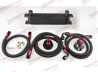 9-ROW ALUMINUM AN-10 ENGINE/TRANSMISSION OIL COOLER+RELOCATION KIT+BLACK LINE