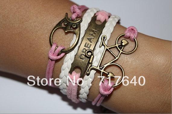 3pcs/lot!Min Order$10.0! Owl Dream Bicycle Bracelet Antique Bronze Charm Bracelet Pink Cord Braid White Leather Bracelet Xl 0449(China (Mainland))