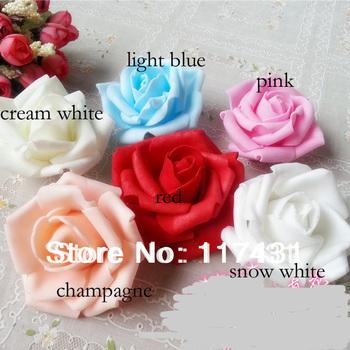 100 pcs 7cm PE Foam Artificial Rose Camellia Flower Heads Wedding Christmas Party Decoration 10 colors can choose