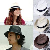 Ladies Mens Sun Straw Fedora Panama Tribly Style Crushable Summer Sun Beach Hat Free Shipping