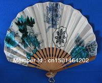 20pcs/lot free shipping seashell shape Japanese style bamboo hand fan silk & satin fabric