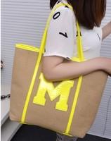 Big m hemp neon orange shoulder bag neon powder neon yellow