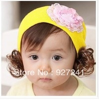 Free shipping ! hot sale baby girl hat, flower knit hat!  suitable for kids from 0-3 year, nice gift for kids