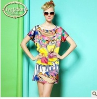 Free Shipping High Quality Women Digital Print Elegant Airy Top Grade Brand Runway Casual Loosen Silk Dress Women With XL