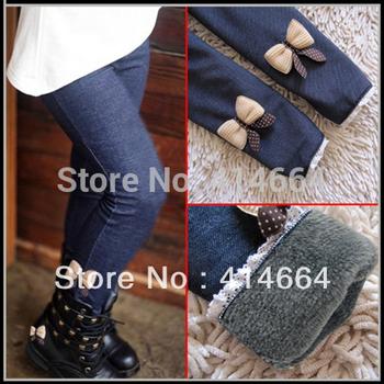 FREE SHIPPING 2013 kids girls jean bow pants, cotton cashmere pants, elastic waist legging warm pants winter spring retail
