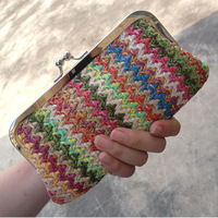 National 2013 free shipping  trend handmade woven  bohemia day clutch bag clip package coin purse