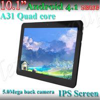 """2pcs/lot 10"""" 5.0M Pixels!! IPS allwinner A31 2G/16GB 1280*800 HDMI Android 4.1 dual camera quad core Cortex A7 pc tablet"""
