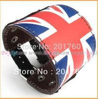 Fashion punk hot-selling new style stainless steel genuine leather British flag bangle Bracelets free shipping 73570