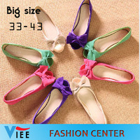 2014 female flats bow open toe flat heel single shoes genuine leather plus size size 33-43 women's  shoes H0142 with box