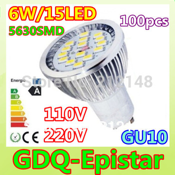 100x Dropshiping 6W GU10/E27/E14/MR16 5630 SMD 15 LED Energy saving Spotlight Bulb Commercial lighting Warm/Cool White