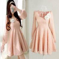 Women's Dress Slim Sweet Plush Wool Korean Style New Pink Dress Woven Dress 201308WD071
